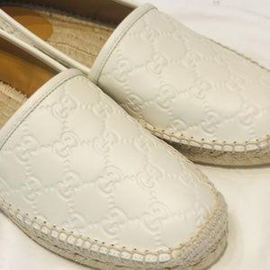 Gucci White Leather Espadrilles